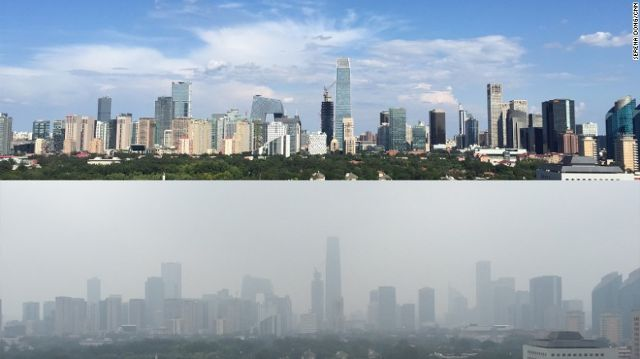 Comparing the cityscape across two different days. Beijing, 2015. Credit: CNN