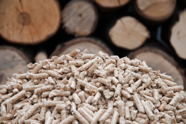 A pile of pellets and logs representing biomass