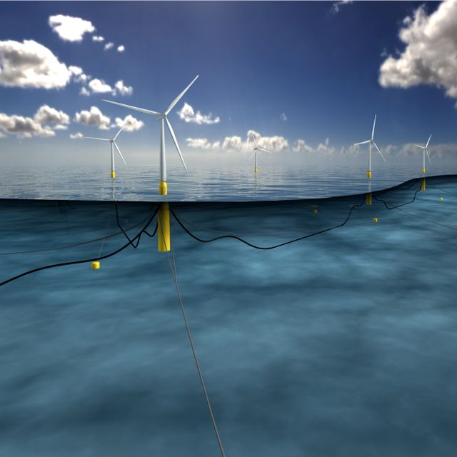 A computer generated image of a floating wind farm