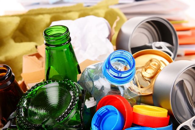 Bottles, cans and cardboard for recycling