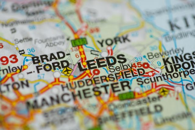 A map showing Leeds