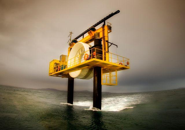 A turbine at sea - representing tidal power